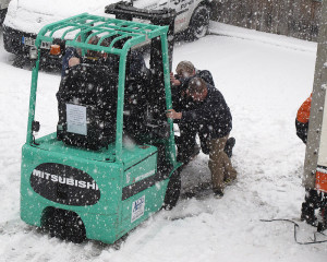 working in the snow