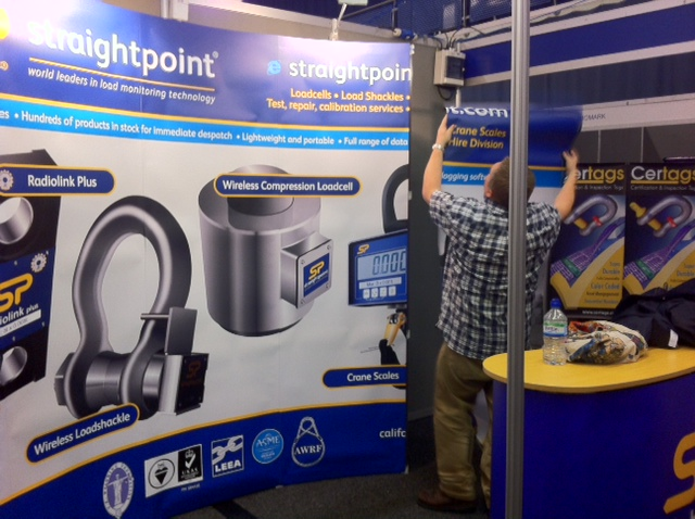 Mr Loadlink setting up the exhibition stand