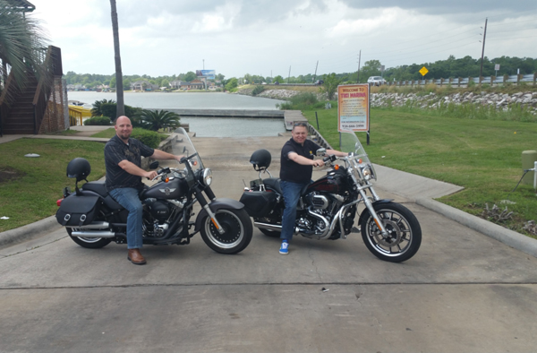 Aaron Orsak and I hired a pair of Harley-Davidson motorbikes to explore I-45.