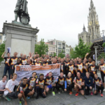 Breakbulk Business Run finishers celebrate in Antwerp.