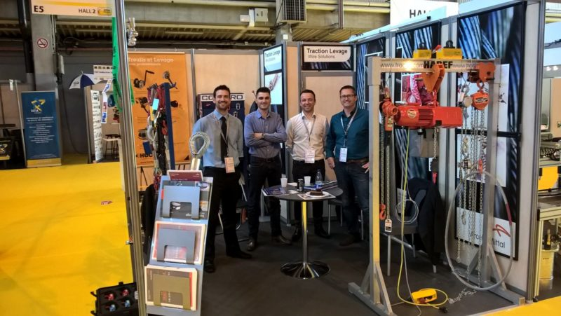 SEPEM Colmar equipe Haguenau 310516.jpg Caption: Here I am with (left to right) Anthony Loiseau, Frédéric Valentin and Frédéric Becker, of Traction Levage, at SEPEM in France.