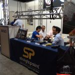 The RUD Lifting Japan Co. Ltd. team enjoys a rare quiet period at Live Entertainment & Event Expo.
