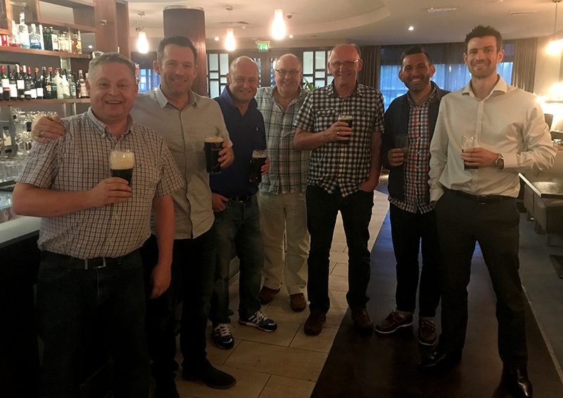 Here I am with Geoff Holden (third from right) and friends on what turned out to be one of my last pints with him as chief executive of LEEA
