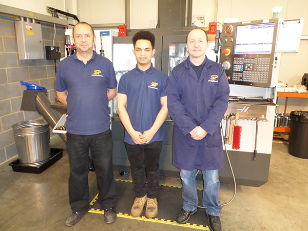Isaac Ayling (centre) with Marcus MacDonald (right), machine shop supervisor, and Gary White, production supervisor.