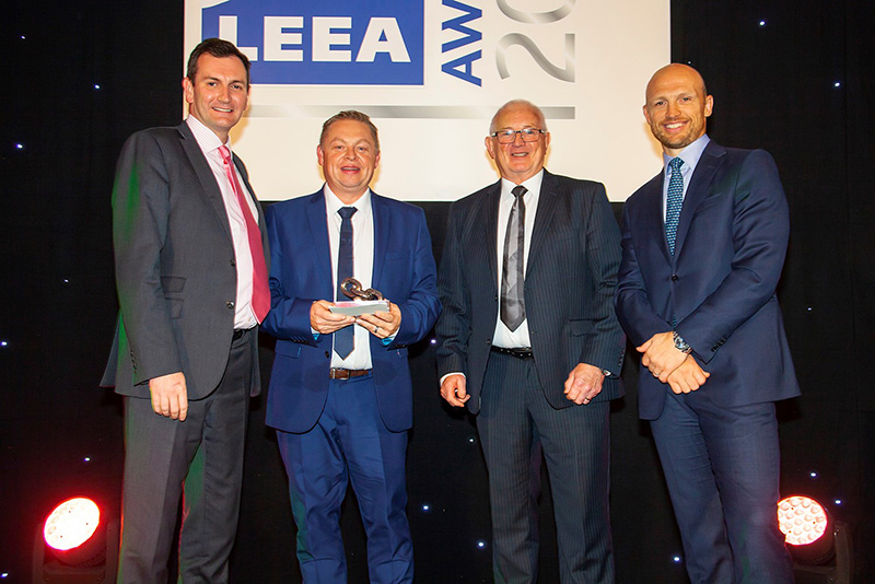 Here I am with (left to right) Dr. Ross Moloney, CEO at LEEA; Doug Price, technical manager at Rigging Services; and Matt Dawson upon collection of silverware at the LEEA Awards evening.